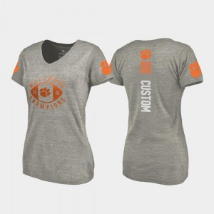 College Football Playoff V Neck Gray Clemson University Customized T-Shirt Ladies #00 2018 National Champions