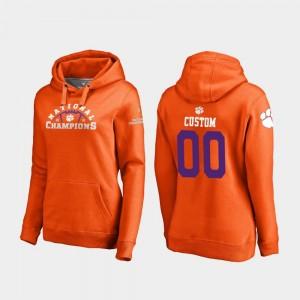 College Football Playoff Pylon Clemson Custom Hoodies #00 Orange Women's 2018 National Champions