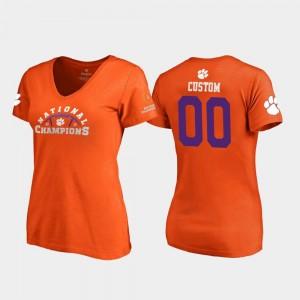 Clemson Tigers Custom T-Shirt #00 2018 National Champions Orange Pylon V Neck For Women