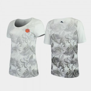 Tommy Bahama Floral Victory For Women's White Clemson Tigers T-Shirt