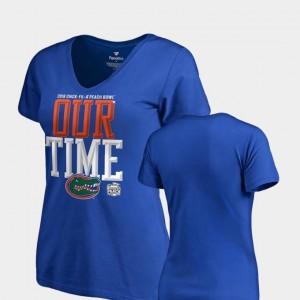 2018 Peach Bowl Bound Womens Counter V Neck Fanatics Branded Blue University of Florida T-Shirt
