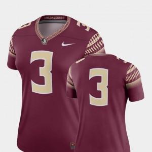 Garnet For Women #3 Legend Nike College Football Florida State Seminoles Jersey
