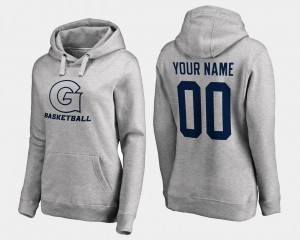 #00 Georgetown Hoyas Customized Hoodies Gray Basketball Women Name and Number
