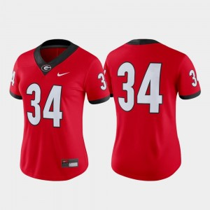 College Football UGA Jersey #34 For Women Red Game