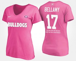 Name and Number Women's Davin Bellamy UGA T-Shirt Pink With Message #17