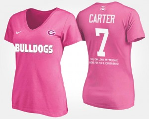 Name and Number Lorenzo Carter UGA Bulldogs T-Shirt Womens With Message #7 Pink