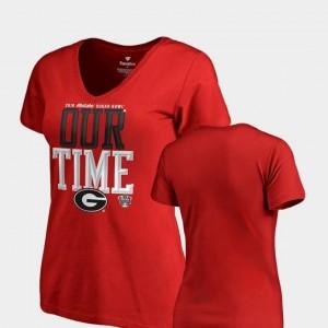2019 Sugar Bowl Bound Counter V Neck Fanatics Branded Red University of Georgia T-Shirt Womens