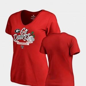 Dime V Neck Fanatics Branded Red For Women 2019 Sugar Bowl Bound Georgia T-Shirt