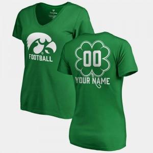 #00 V Neck Dubliner Fanatics University of Iowa Custom T-Shirt Ladies Kelly Green St. Patrick's Day