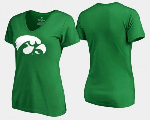 Iowa T-Shirt St. Patrick's Day Kelly Green Women White Logo Fanatics Branded