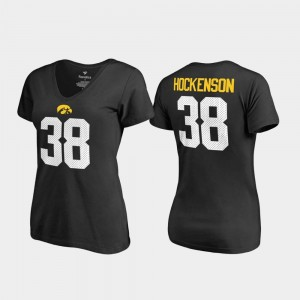 V Neck Name & Number Black T.J. Hockenson Iowa T-Shirt College Legends Womens #38
