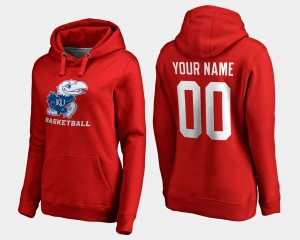 Womens Basketball Name and Number #00 Kansas Jayhawks Customized Hoodies Red
