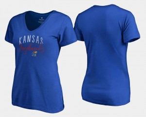 Graceful University of Kansas T-Shirt V Neck Fanatics Branded Ladies Royal