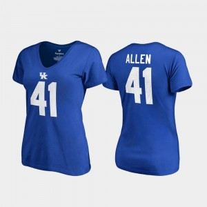 Royal Josh Allen Kentucky Wildcats T-Shirt Women College Legends V Neck Name & Number #41