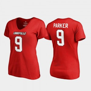 Red DeVante Parker Cardinals T-Shirt #9 Women's College Legends V Neck