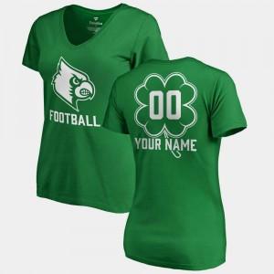 Kelly Green V Neck Dubliner Fanatics Cardinals Custom T-Shirts Ladies #00 St. Patrick's Day