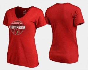 V Neck 2018 ACC Champions Womens Cardinals T-Shirt Basketball Conference Tournament Red