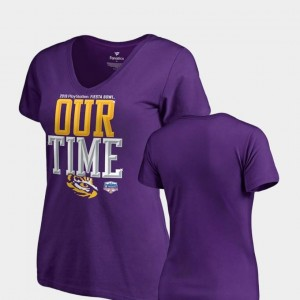 2019 Fiesta Bowl Bound Purple Louisiana State Tigers T-Shirt Counter V Neck Fanatics Branded For Women