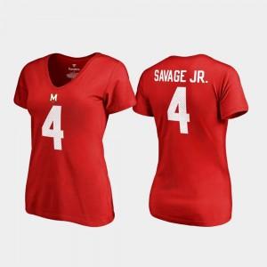 V Neck Name & Number College Legends #4 Women's Darnell Savage Jr. Maryland T-Shirt Red