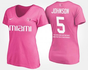 With Message #5 Andre Johnson University of Miami T-Shirt Name and Number Womens Pink