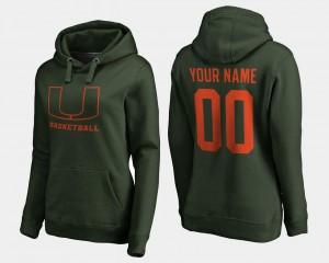 Basketball #00 Green Women Name and Number Miami Custom Hoodies