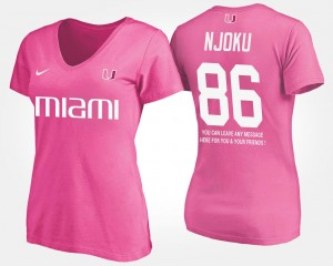 #86 Pink Name and Number David Njoku Miami Hurricanes T-Shirt For Women With Message