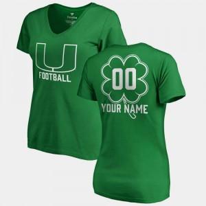 #00 Women V Neck Dubliner Fanatics Hurricanes Customized T-Shirts St. Patrick's Day Kelly Green