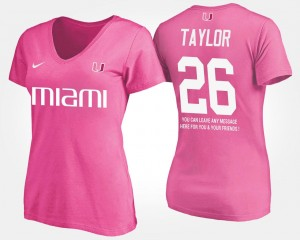 Womens Pink Name and Number Sean Taylor Miami Hurricanes T-Shirt With Message #26