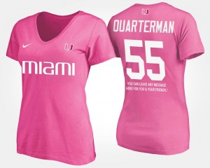Pink Shaquille Quarterman University of Miami T-Shirt Name and Number With Message Women #55