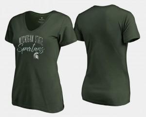 Spartans T-Shirt Ladies V Neck Fanatics Branded Green Graceful
