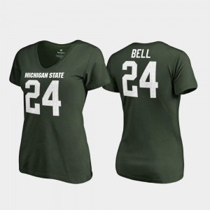 For Women #24 College Legends V Neck Green Le'Veon Bell Michigan State University T-Shirt