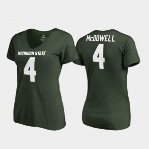 Malik McDowell Michigan State Spartans T-Shirt College Legends #4 Green V Neck For Women's
