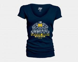 Basketball Conference Tournament Michigan T-Shirt V Neck 2018 Big Ten Champions Locker Room Navy Ladies