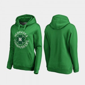 St. Patrick's Day Ladies Kelly Green University of Nebraska Hoodie Luck Tradition Fanatics Branded