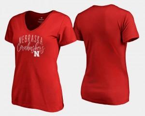 Graceful Scarlet V Neck Fanatics Branded Cornhuskers T-Shirt Women's