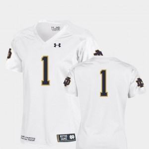 College Football Team Replica Under Armour Women's University of Notre Dame Jersey White #1