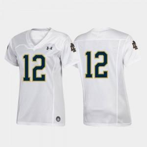 Football Team Under Armour Ladies #12 Notre Dame Fighting Irish Jersey Replica White