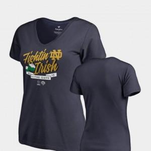 Women Navy 2018 Cotton Bowl Bound UND T-Shirt Dime V Neck College Football Playoff