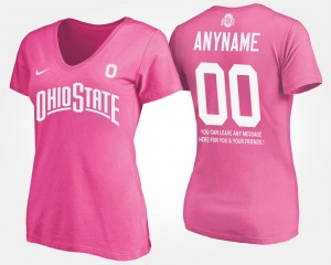 T shirt With Message OSU Buckeyes Custom T-Shirts #00 Name and Number Pink Womens