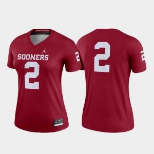 College Football Jordan Brand Sooners Jersey Crimson Ladies Legend #2