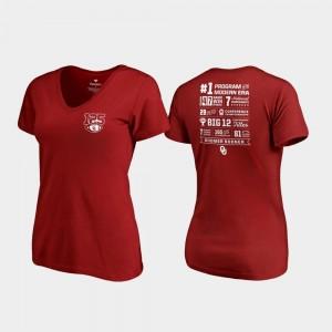 125th Football Season Crimson Fanatics Branded Champ Stats OU T-Shirt Ladies