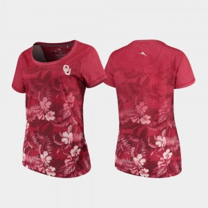 Crimson Womens Sooners T-Shirt Tommy Bahama Floral Victory