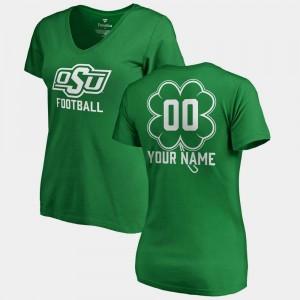 V Neck Dubliner Fanatics St. Patrick's Day OSU Customized T-Shirt #00 Kelly Green For Women's