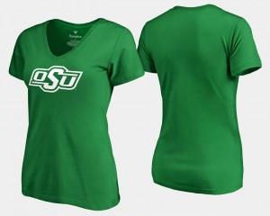 Oklahoma State Cowboys T-Shirt Ladies White Logo Fanatics Branded St. Patrick's Day Kelly Green