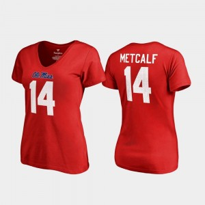 Red V Neck Name & Number #14 College Legends For Women DK Metcalf Rebels T-Shirt