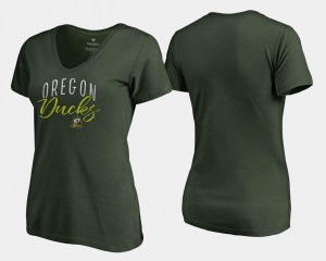 Graceful Women V Neck Fanatics Branded Ducks T-Shirt Green