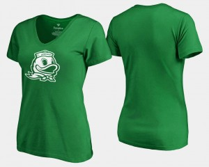 Ducks T-Shirt Womens Kelly Green White Logo Fanatics Branded St. Patrick's Day