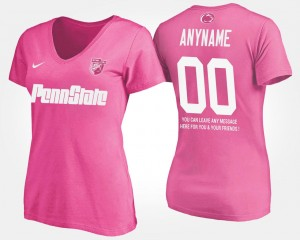 Ladies Penn State Nittany Lions Customized T-Shirt Name and Number #00 Pink T shirt With Message