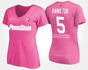Pink DaeSean Hamilton Nittany Lions T-Shirt With Message Women's Name and Number #5