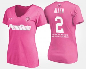 Womens With Message #2 Name and Number Pink Marcus Allen Nittany Lions T-Shirt